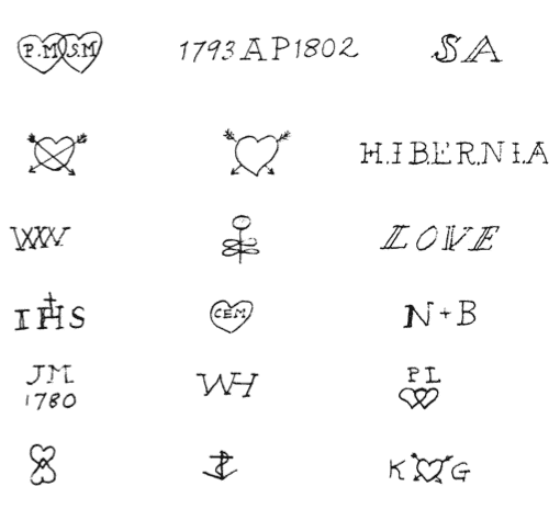 Common tattoo designs sketched in Philadelphia SPC-A's from 1796 to 1818 (Dye 529). @